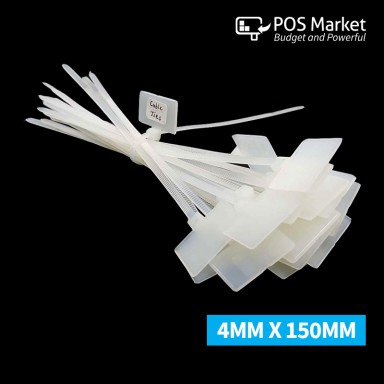 Cable Zip Ties Label ID Sticker Marking Tags White Nylon Wire 4mm x 150mm 200 Pcs