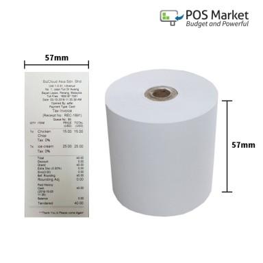 Thermal Paper Roll 57mm width x 50mm diameter 10 rolls