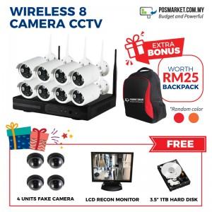 Wireless 8 Channel CCTV WiFi Kit IP Camera WiFi Home CCTV System Set 8 pcs IP Camera