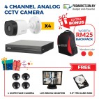 Wired 4 Channel Analog CCTV Security Camera IP Camera Home Shop Business Restaurant Cafe Boutique Store Room Workshop CCTV System Set 4 pcs IP Camera Free 1TB Hard Disk Monitor