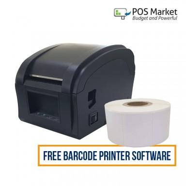 Thermal Barcode Printer (USB) + 1 rolls Thermal Barcode Label Sticker + FREE 1 Barcode Printer Software